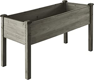 LZRS 33x17x30 inches Raised Garden Bed Elevated Wooden Planter Box Stand with Legs for Herbs,Vegetables,Flowers,Great for Outdoor Patio, Deck,Grey