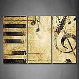 First Wall Art - Musique Tableau Toile Note et Touches du Piano Peinture Murale Cadre 3 Pièces Moderne Art Poster Decoration pour Le Maison,Salon,Chambre,Cuisine