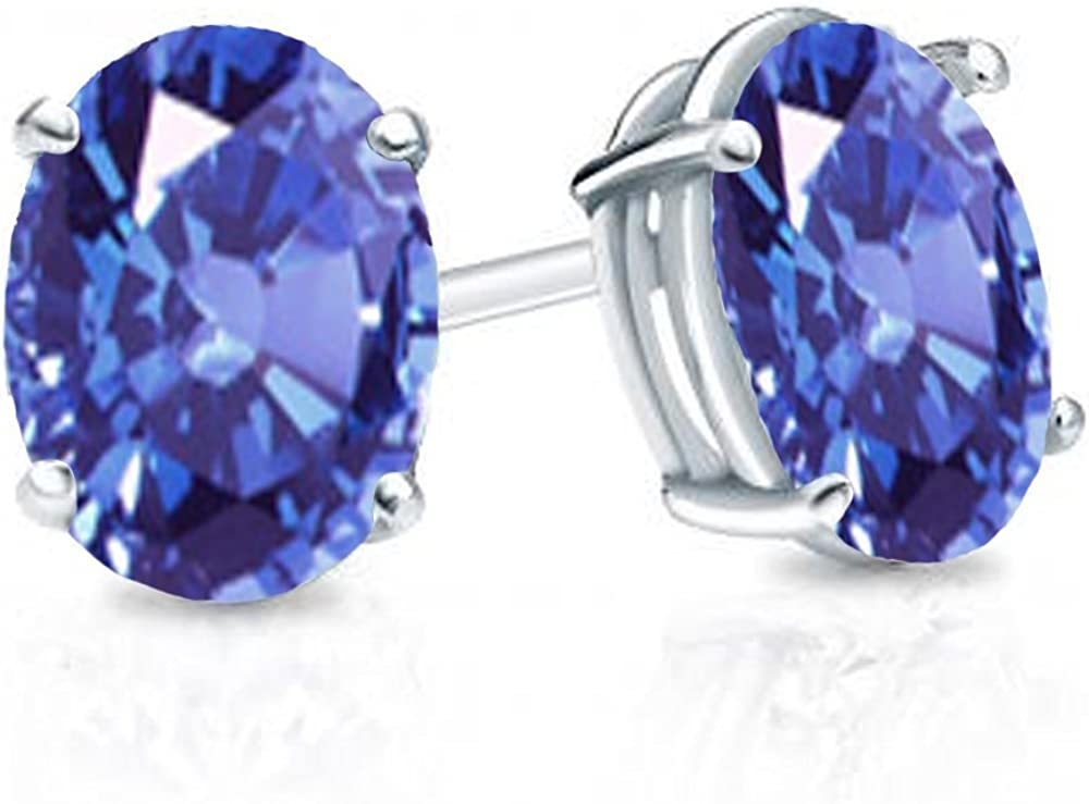 Dazzlingrock Collection 14K 6x4 mm each Oval Cut Ladies Solitaire Stud Earrings, White Gold