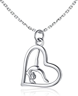 Flipping Gymnast Necklace 925 Sterling Silver Team USA Gymnastics Girl Fashion Jewelry Pendant Necklace Ballerina Gymnastics for girl Gifts