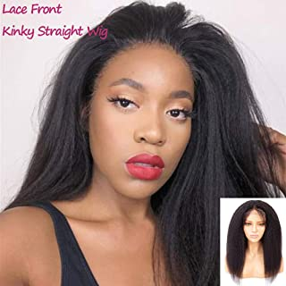 Feelgrace Natural Black Color 10A Grade Yaki Human Hair Lace Closure Wigs Brazilian Kinky Straight Lace Front Wigs 230 Gram/Pack Silky Soft Wig (12 Inch, Kinky Straight)