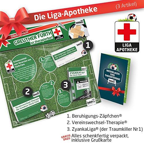 Geschenk-Set: Die Liga-Apotheke für Spvgg Fürth-Fans | 3X süße Schmerzmittel für Fürth Fans | Die besten Fanartikel der Liga, Besser als Trikot, Home Away, Saison 18/19 Jersey