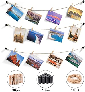 HOSOM DIY Hanging Photo Display Wall Decor, Picture String with 30 Clips, 16.5ft Twine, 10pcs Standoffs