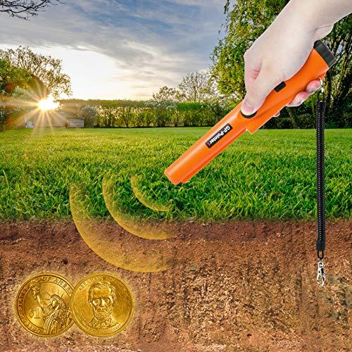KATELUO Metal Detector Pinpointer, Pinpointer Impermeabile, Metal Detector Portatile Professionale,Rilevatore di Metalli Portatile per Caccia al Tesoro Oro, Moneta, Argento (arancione)