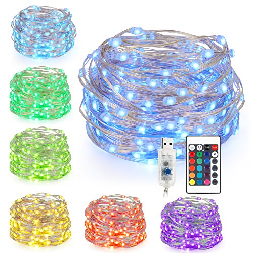 Kohree LED Fairy String Lights Remote with Timer, 33FT 100 LED, 16 Colors Changing, Battery Operated, USB Port, Waterproof Twinkle Lights for Christmas Indoor Outdoor Bedroom Ceiling Wedding