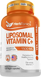 High Strength Liposomal Vitamin C Capsules 1500mg Immune Support Supplement & Immune System Health Booster High Absorption...