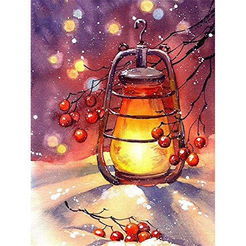 DIY 5D Diamond Painting kits completo for Adults/Niños Grande Talla, Lámpara de invierno bordado Diamante Pintura punto de cruz Rhinestone cristal art para decor pared del hogar Round drill,80x100cm