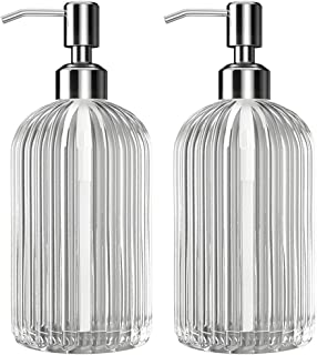 Kolyes Soap Dispenser, 18 Oz Clear Vertical Striped Glass Refillable Premium Hand Soap Dispensers; with 304 Rust Proof Stainless Steel Pump, for Bathroom, Kitchen, Lotions- 2 Pack