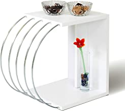 HomeCanvas Case End Table Living Room Made In Turkey Side Table (White-Chrome)