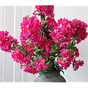 Skyseen 2PCS Artificial Crape Myrtle Flowers Spray Fake Lagerstroemia Vine for Home Decor 38.2″(Rose)