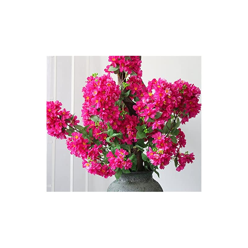 "silk flower arrangements skyseen 2pcs artificial crape myrtle flowers spray fake lagerstroemia vine for home decor 38.2""(rose)"