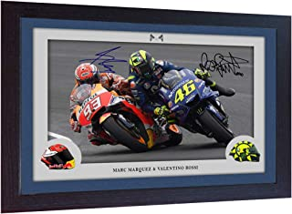 S&E DESING Marc Marquez Valentino Rossi Signed Photo Print Framed