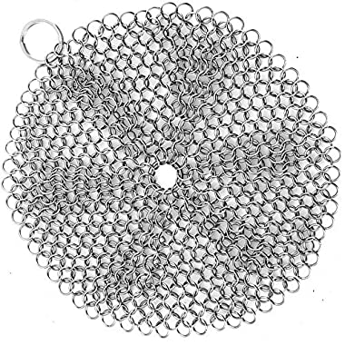 Cast Iron Cleaner,TILO Premium Stainless Steel Cast Iron Skillet Chainmail Scrubber- Extra Large 7x7 inch - Easily Cleans Cast Iron Skillets, Griddles, and Camping Pots and Pans (Round)