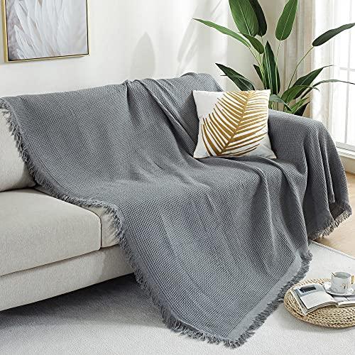 haoyunlai Manta para sofá o silla, lino con borlas, funda de protección contra el polvo, 130 x 180 cm