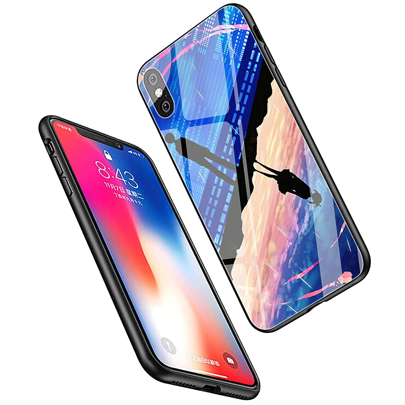 LiangChu 9H Tempered Glass iPhone Xs Max Cases, LC-27 Your Name Kiminonawa Design Printing Shockproof Anti-Scratch Soft Silicone TPU Cover Phone Case for Apple iPhone Xs Max