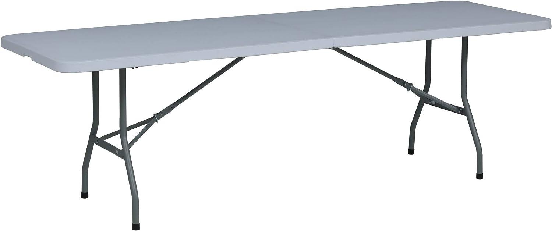 Tenco TG240 - Mesa Plegable Rectangular, 240 x 76 x 74 cm, color blanco granito