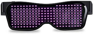 Queen.Y LED Bril Aanpasbare BT Licht Up Bril Bluetooth APP Verbonden LED Display Smart Bril USB Oplaadbare DIY Funky Brill...