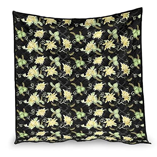OwlOwlfan Colcha para invierno con diseño de flores de plantas, muy suave, de fácil cuidado, 200 x 230 cm, color blanco