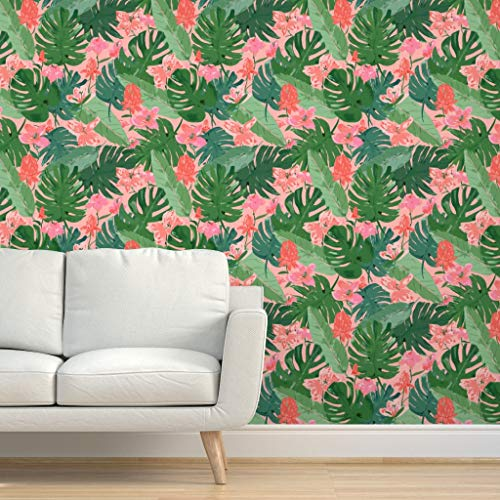 Spoonflower Pre-Pasted Removable Wallpaper, Tropical Leaves and Flowers Fable Floral Palm Pink Coral Print, Water-Activated Wallpaper, 24in x 108in Roll