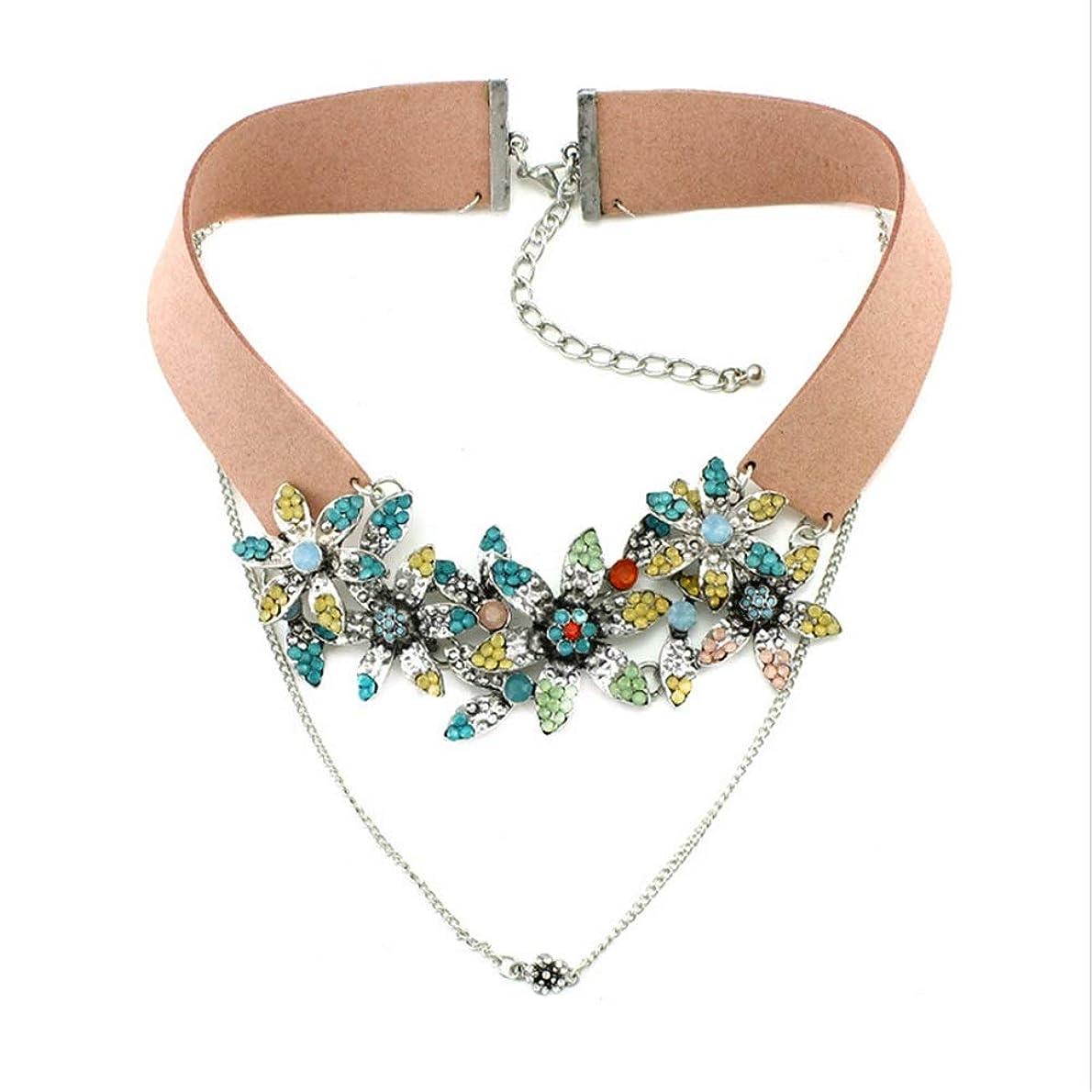 既に脚本家めまいがXF チョーカー ダイヤモンドと誇張された革の首輪多色の花のネックレスペンダントイブニングドレスアクセサリー ジュエリー (色 : Pink)