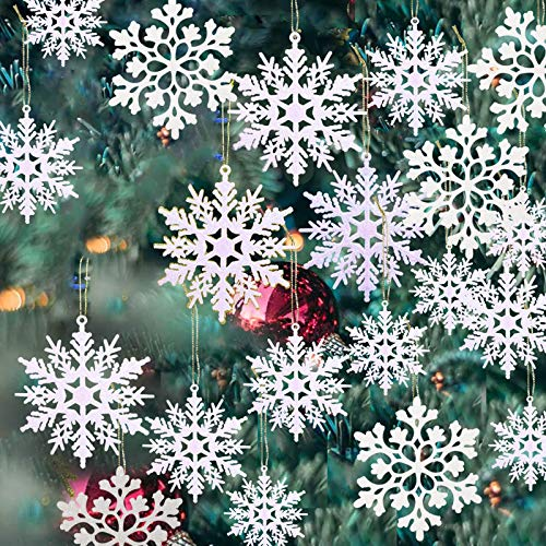 36 Pack Plastic White Snowflake Ornaments Christmas Winter Decorations, Hanging Snowflake Decorations for Winter Wonderland Christmas Tree