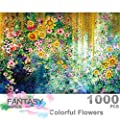 Ingooood- Jigsaw Puzzles 1000 Pieces for Adult- Fantasy Series- Colorful Flowers Watercolor Painting_IG-0406 Entertainment Wooden Puzzles Toys by Ingooood