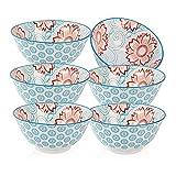 Cibeat 6 Pack 23 oz Premium Porcelain Bowls Set, 6 inch Cereal Bowls, Ceramic Bowls for Soup, Salad, Pasta, Rice, Large Capacity Ramen Bowls, Heat and Cold Resistant, Microwave and Dishwasher Safe