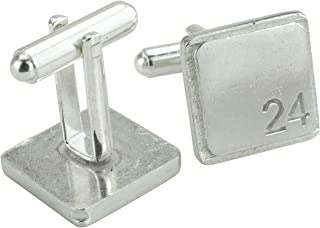 Square Cufflinks with '24' Engraved - 24th Anniversary