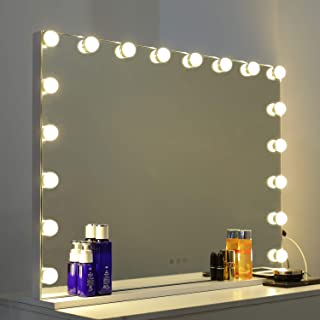 WAYKING Lighted Vanity Mirror , Large Hollywood Makeup Mirror with Touch Sensor, 3 lighting Modes, USB Charging Port, Tabletop or Wall Mounted Mirror with 18 Built-in LED Bulbs, White (L31.4 X H23.6 i