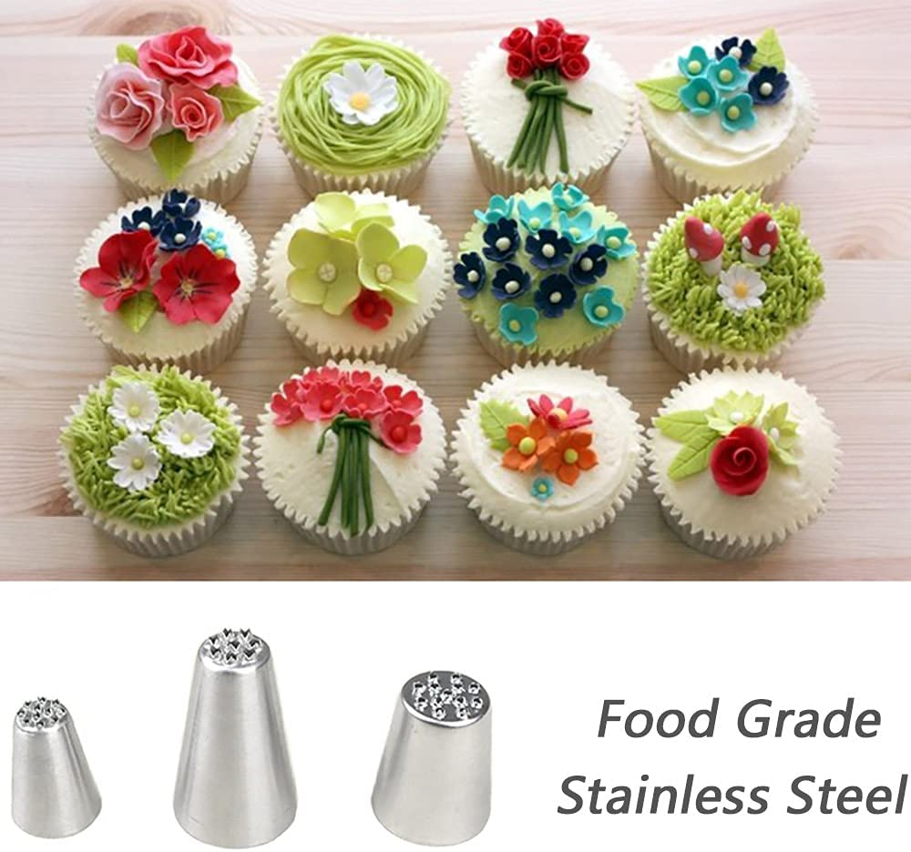 Silver 3pcs Stainless Steel Grass Icing Nozzles Set,Mousse Cake ...