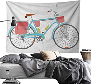 dsdsgog Simple Bicycle,Classic Touring Bike with Derailleur and Saddlebags Healthy Active Lifestyle Travel, Multicolor,W60 xL40 Multicolor
