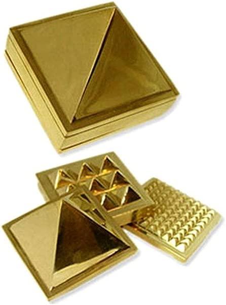Discount4product Metal Ashtadhatu Vastu Pyramid 1 Set Of 3 Golden Small