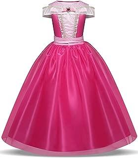LENSEN Tech Girls Princess Aurora Costume Drop Shoulder Halloween Party Long Dress