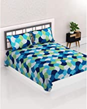 Aurome - 100% Cotton (144 TC) Queen Size (220 cm x 240 cm) Double Bedsheet with 2 Matching Pillow Covers (46 cm x 71 cm) - Geometric Print, Blue