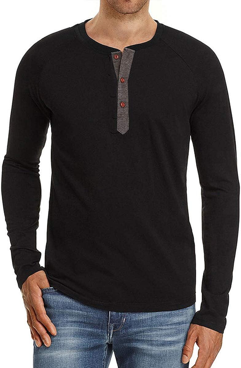 VIENNAR Ranking TOP11 Men's 4 years warranty Casual Regular-fit Basic Henley Sleeve Shirt Long