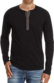 Men's Casual Regular-fit Basic Shirt Long Sleeve Henley T-Shirt