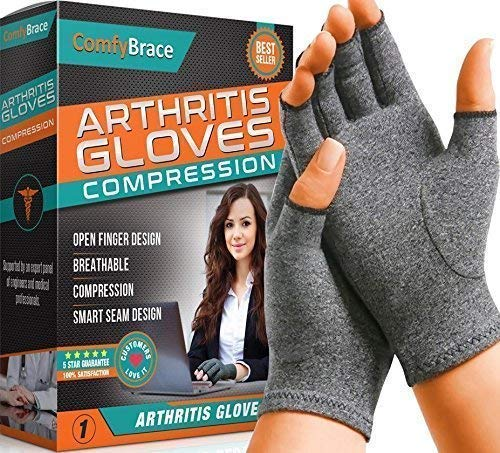 Comfy Brace Arthritis Hand Compression Gloves – Comfy Fit, Fingerless Design, Breathable & Moisture Wicking Fabric – Alleviate Rheumatoid Pains, Ease Muscle Tension (Medium)