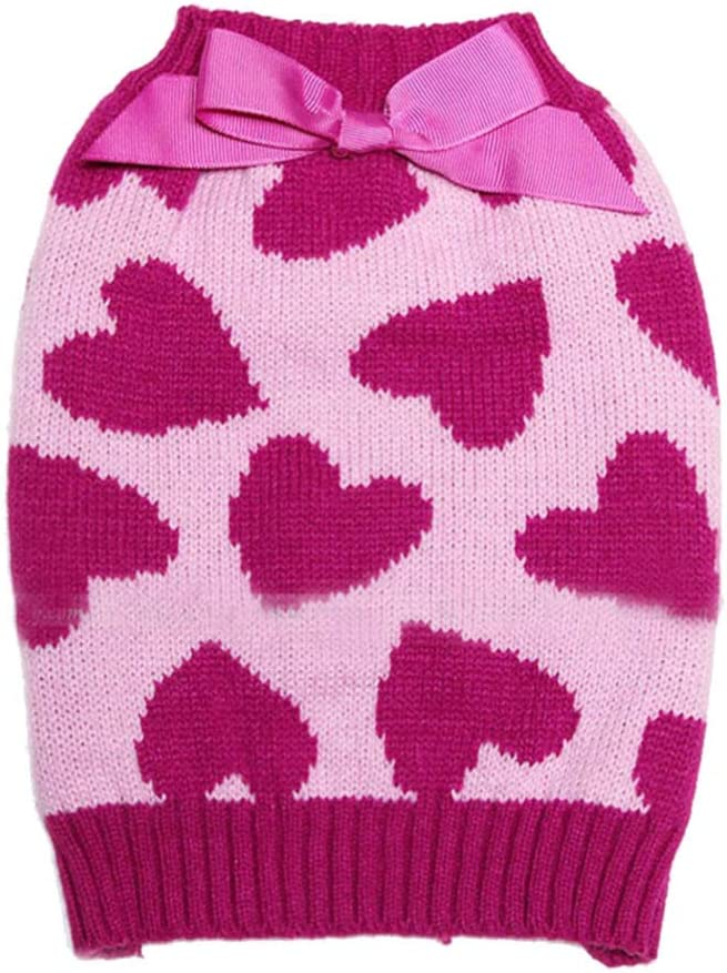 Amosfun Pet Sweater sold out with Bowties Valentines Large discharge sale Heart Pattern Pe Day