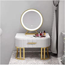 Makeup Desk Bay Window Dressing Table Tatami Marble Storage Cabinet with Lighted Mirror Bedroom Dresser Set Dressing Table...