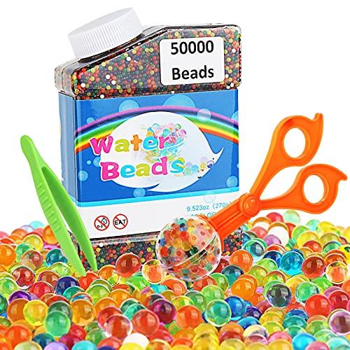 Redmoo Wasserperlen, 50000 Stücke Orbeez Wasserperlen für Kinder, Aqualinos Gelperlen Ungiftig, biologisch abbaubare Wasserkugeln Spielzeug mit Messlöffeln und Pinzette für Pflanzen Vase Füllstoff
