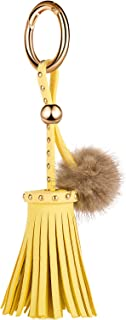 Leather Tassels Keychain with Mink Fur Ball and Rivet Keyring for Bags Purse Keys GJ019