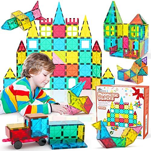 Jasonwell 65 PCS Magnetic Tiles Building Blocks Set for Boys Girls Preschool Educational Construction Kit Magnet Stacking Toys for Kids Toddlers Children 3 4 5 6 7 8 Year Old