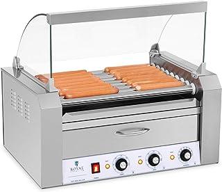 Royal Catering Cuoci Hot Dog con 9 Rulli e Cassetto Scaldavivande, Acciaio Inox