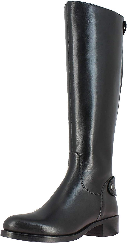 SaintG Womens Black Leather Length latest Sale price Knee Long Boots