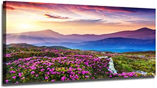 Ardemy Canvas Wall Art Purple Mountain Landscape Picture Prints Modern One Panel Framed..