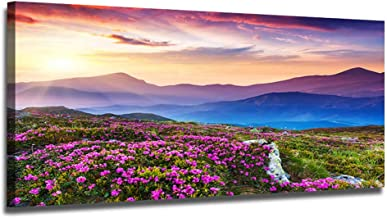Ardemy Canvas Wall Art Purple Mountain Landscape Picture Prints Modern One Panel Framed Painting, Stunning Wildflowers Scenery Artwork Framed for Living Room Bedroom Kitchen Home Office Decor 48