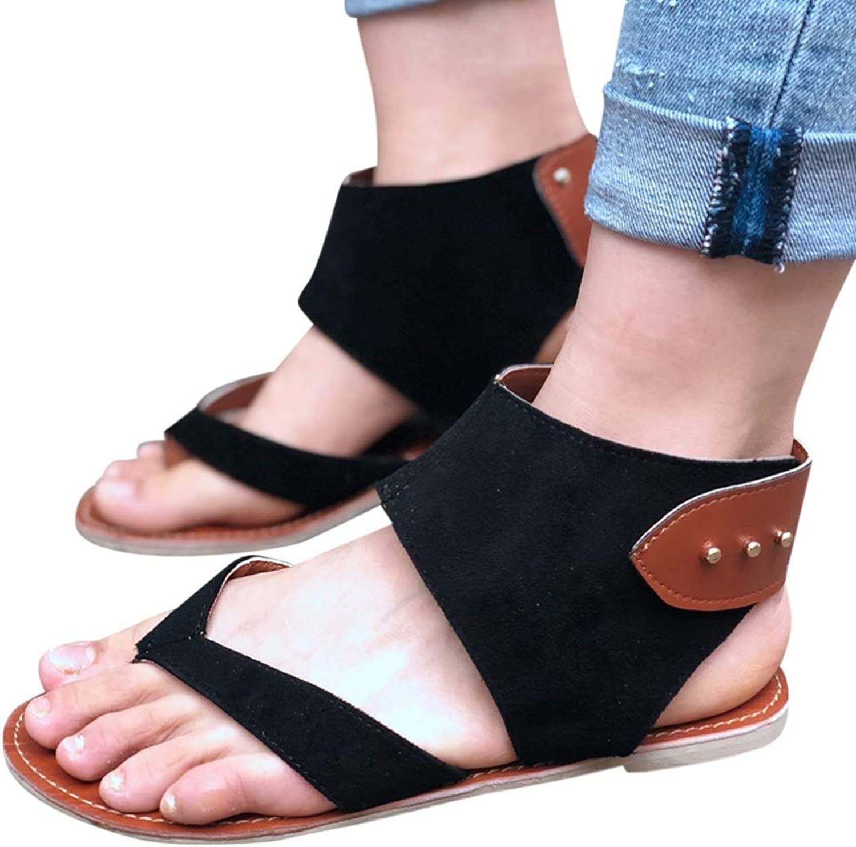 JOYBI Women Sandals Flats Ankle Strap Summer Comfortable Slip On Fashion Leisure Rome Casual Sandal shoes