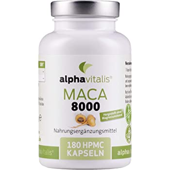 Maca Gold 8000 – 180 Maca Kapseln 20:1 Extrakt - vegan - ohne Magnesiumstearat - hochdosiert und in Premiumqualität - 6 Monate Versorgung