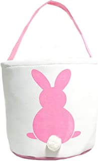 MONOBLANKS Easter Bunny Basket Bags for Kids Canvas Cotton Carrying Gift and Eggs Hunt Bag,Fluffy Tails Printed Rabbit Canvas Toys Bucket Tote (Pink)