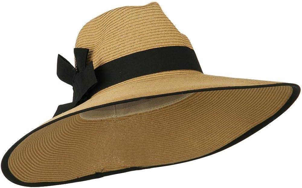 UPF 50+ Denver Mall Fedora Crown Paper Hat Selling rankings Tan Black Braid -